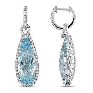 Miadora 14k White Gold Blue Topaz and 1ct TDW Diamond Drop Earrings (G-H, SI1-SI2)