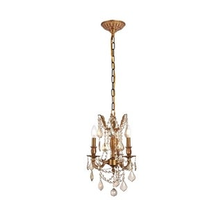 Somette Lugano 3-light Royal Cut Gold Crystal and French Gold Chandelier