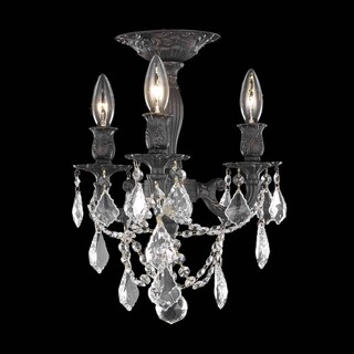Somette Lugano 3-light Royal Cut Crystal and Dark Bronze Flush Mount