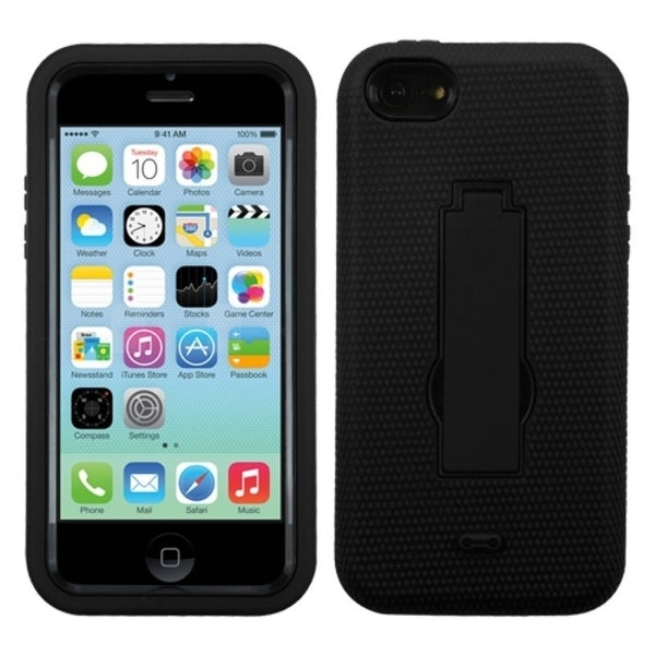 INSTEN Black/ Black Symbiosis Stand Phone Case Cover for Apple iPhone 5C