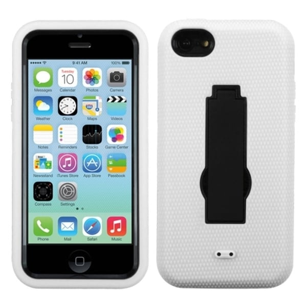 INSTEN Black/ White Symbiosis Stand Phone Case Cover for Apple iPhone 5C