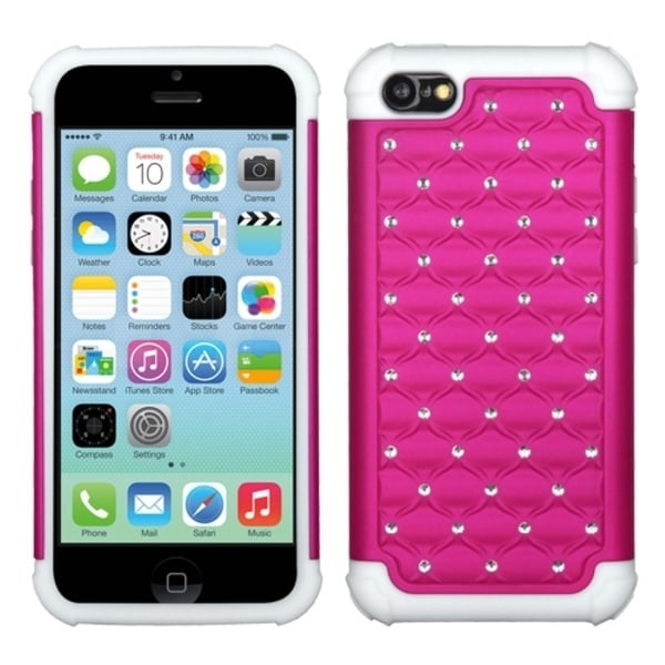 INSTEN Hot Pink/ Solid White TotalDefense Phone Case Cover for Apple iPhone 5 / 5C / 5S / SE