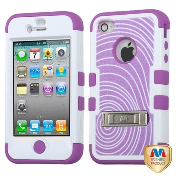 INSTEN Annual Rings/ Purple TUFF Hybrid Phone Case Cover for Apple iPhone 4/ 4S