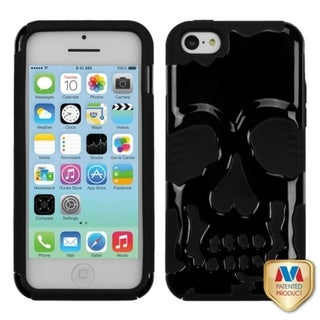 INSTEN Solid Black/ Black Skullcap Hybrid Phone Case Cover for Apple iPhone 5 / 5C / 5S / SE