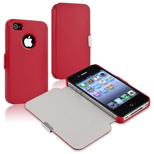 BasAcc Red Leather Case with Magnetic Flap for Apple® iPhone 4/ 4S