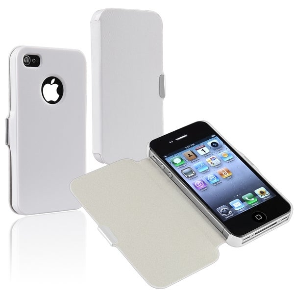 BasAcc White Leather Case with Magnetic Flap for Apple® iPhone 4/ 4S