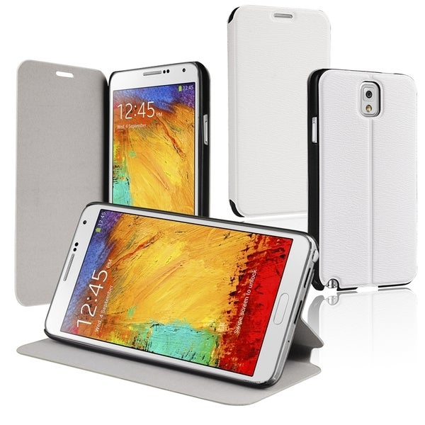 BasAcc White Stand Leather Case for Samsung© Galaxy Note III N9000