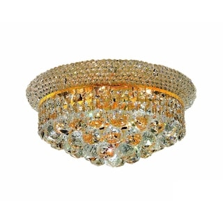 Somette Geneva 6-light Royal Cut Crystal and Gold Flush Mount