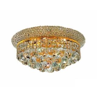 Somette Geneva 6-light Royal Cut Crystal and Gold Flush Mount