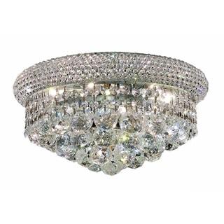 Somette Geneva 6-light Royal Cut Crystal and Chrome Flush Mount