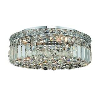 Somette Lausanne 5-light Royal Cut Crystal and Chrome Flush Mount