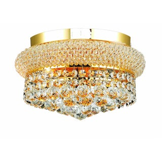Somette Geneva 4-light Royal Cut Crystal and Gold Flush Mount