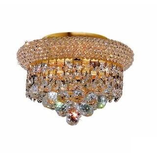 Somette Geneva 3-light Royal Cut Crystal and Gold Flush Mount