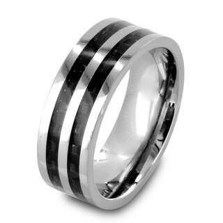 Men's Polished Titanium Carbon Fiber Inlay Comfort Fit Ring - 8mm Wide