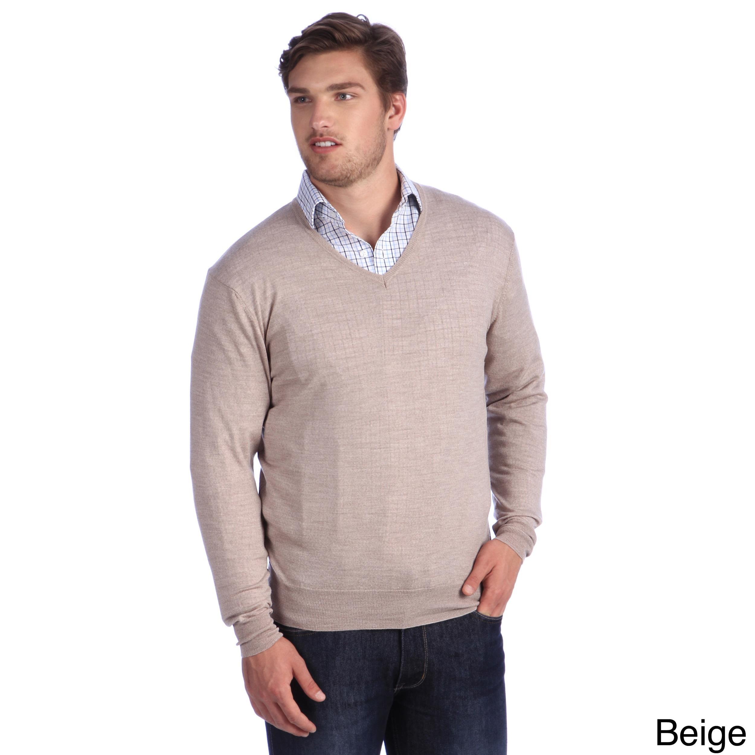 Luigi Baldo Luigi Baldo Italian Made Mens Fine Gauge Merino V neck Sweater Beige Size Small