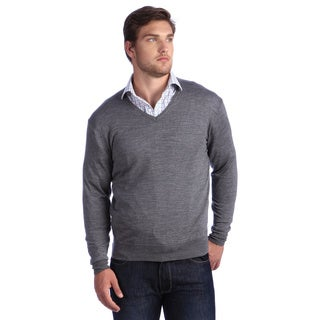 Luigi Baldo Italian Made Men's Fine Gauge Merino V-Neck Sweater