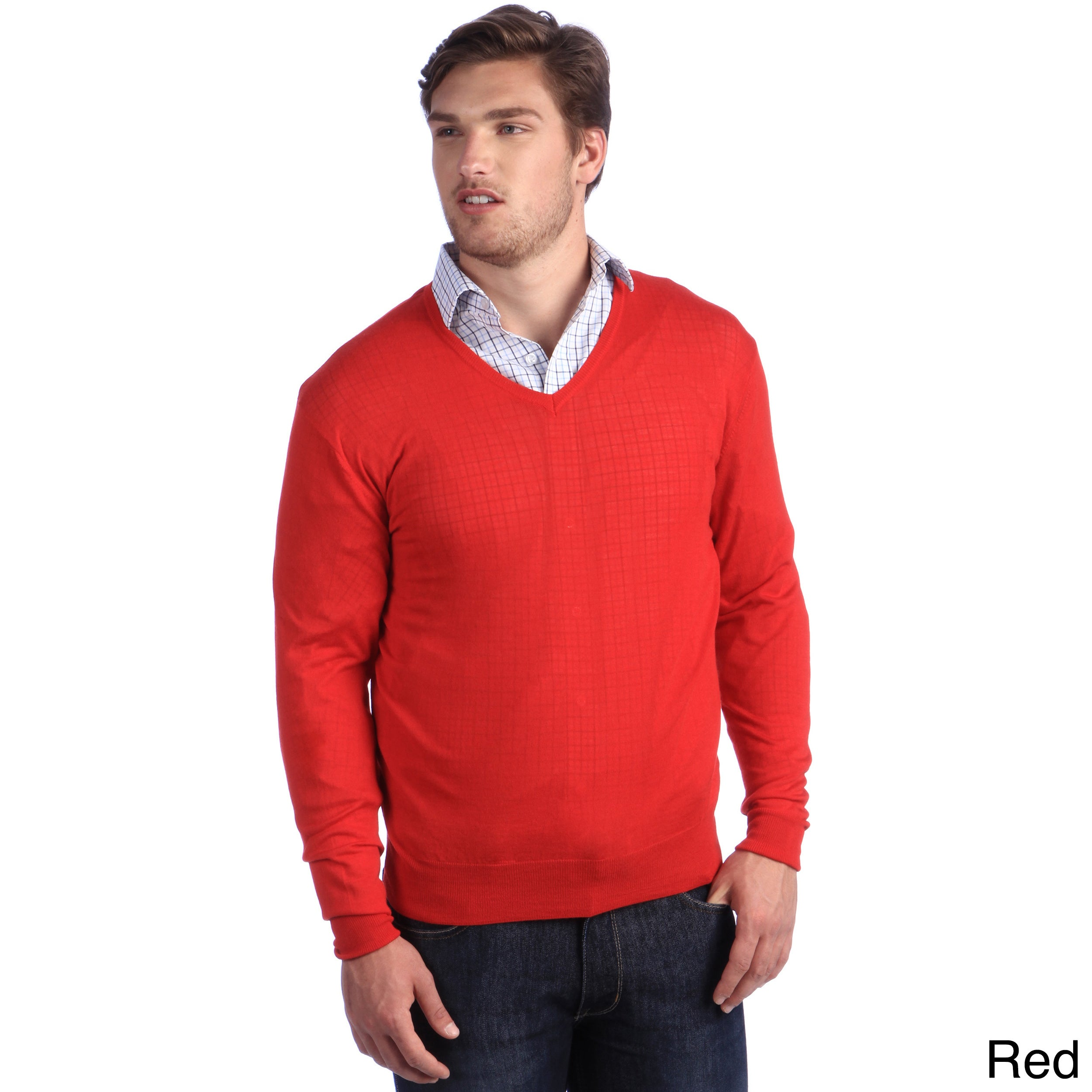 Luigi Baldo Italian Made Mens Fine Gauge Merino V neck Sweater