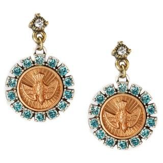 Sweet Romance Bird Holy Spirit Aqua Crystal Earrings