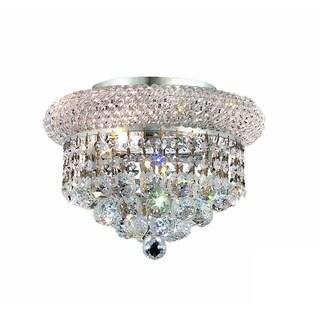 Somette Geneva 3-light Royal Cut Crystal and Chrome Flush Mount