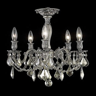 Somette Meilen 5-light Royal Cut Gold Crystal and Pewter Flush Mount