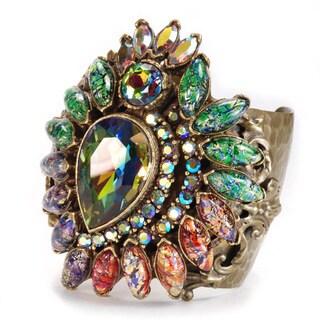 Sweet Romance Vintage Glass Peacock Bohemian Statement Cuff Bracelet