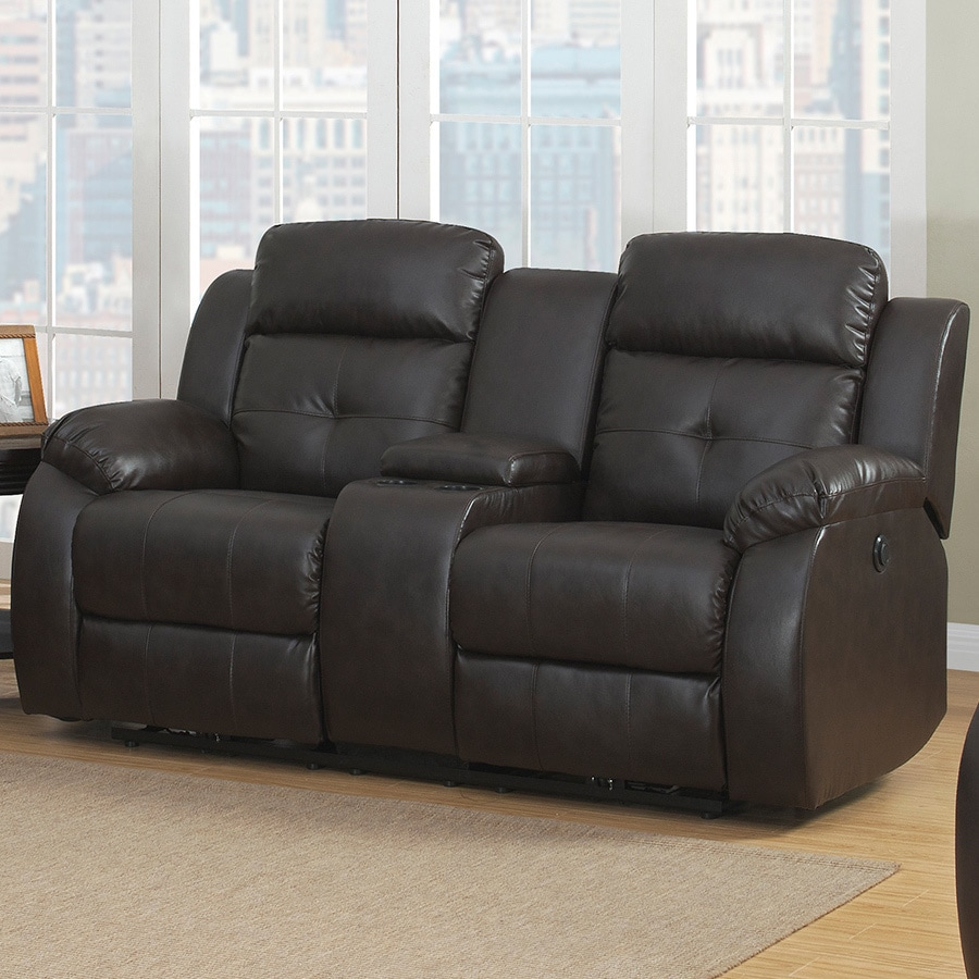 AC Pacific Troy Power Reclining Loveseat, Brown (Bonded L...