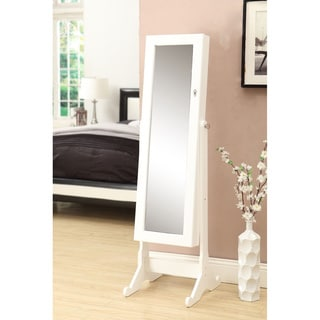White Wooden Cheval Mirror with Jewelry Armoire Cabinet