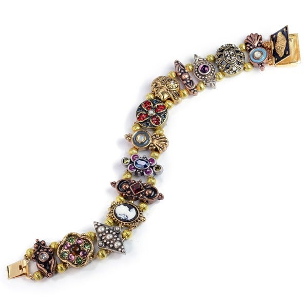 Sweet Romance Vintage Tri-color Victorian Charm Slide Bracelet