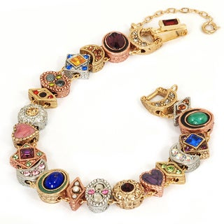 Sweet Romance Victorian Crystal and Vintage Glass Slide Bracelet