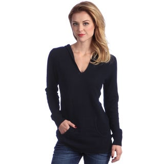Enzo Mantovani Women's Navy Cashmere Hooded Sweater