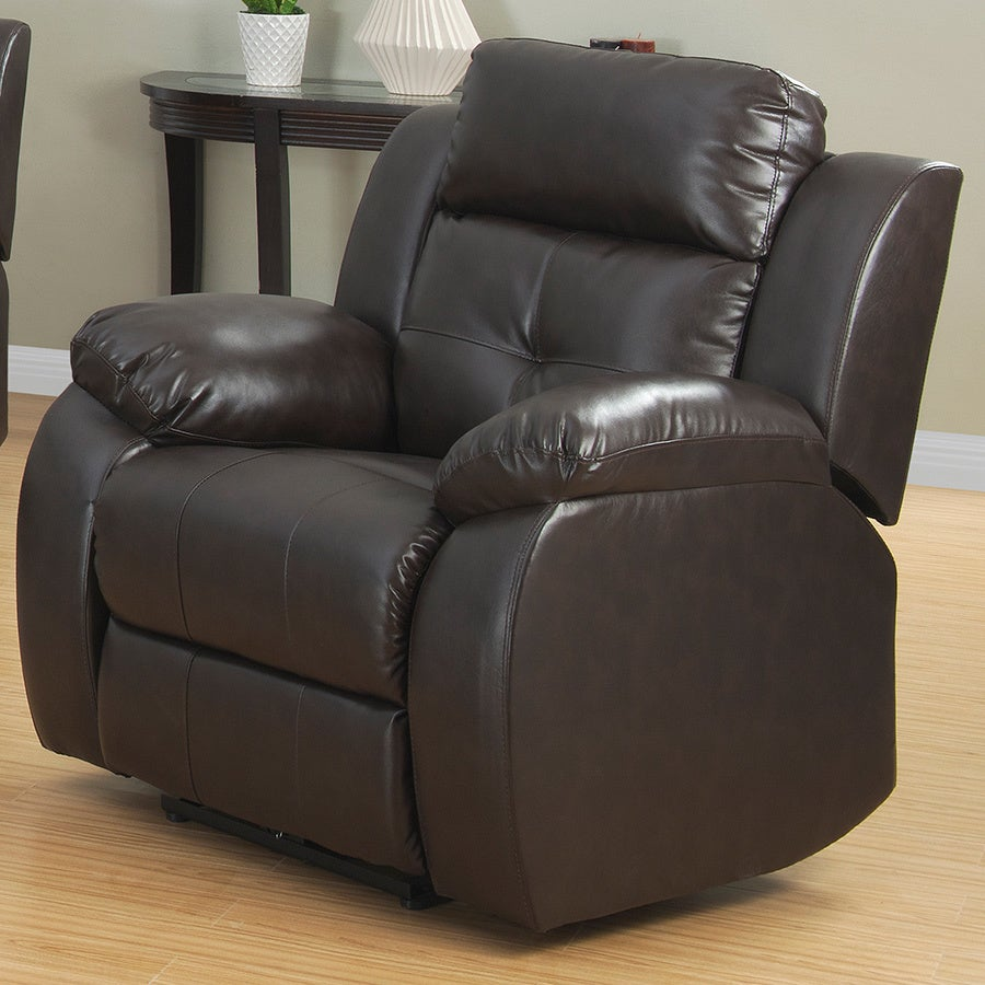 AC Pacific Troy Power Reclining Chair, Brown (Bonded Leat...