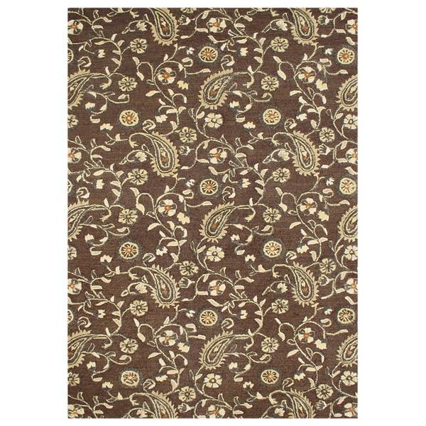 Alliyah Handmade Tobacco Brown New Zealand Blend Wool Rug (9' x 12')