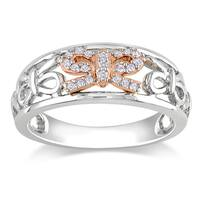 Miadora Sterling Silver and14k Rose Gold 1/10ct TDW Diamond Bow Ring