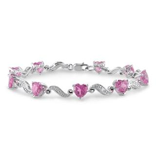 Miadora Sterling Silver Created Pink Sapphire and Diamond Heart Bracelet (H-I, I2-I3)