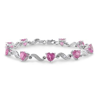 Miadora Sterling Silver Created Pink Sapphire and Diamond Heart Bracelet (H-I, I2-I3)