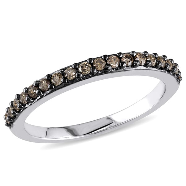 Miadora 10k White Gold 1/4ct TDW Brown Diamond Ring