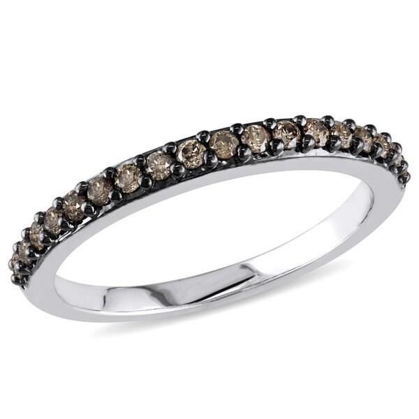 Miadora 10k White Gold 1/4ct TDW Brown Diamond Ring (H-I, I2-I3)