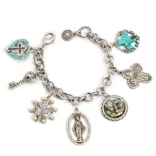 Sweet Romance Silvertone Amulets and Saints Charm Bracelet