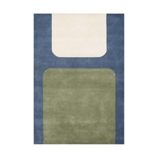 Handmade Midnight Blue Blended Wool Rug (5' x 8')