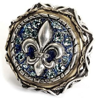 Sweet Romance Fleur De Lis French Crystal Vintage Ring
