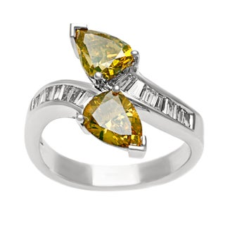 18k Gold 2 3/4ct TDW Yellow and White Diamond Bypass Ring (G-H, SI1-SI2) (More options available)
