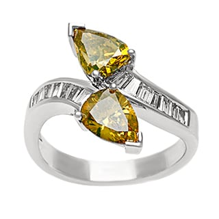 18k Gold 2 3/4ct TDW Yellow and White Diamond Bypass Ring (G-H, SI1-SI2)