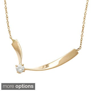Kabella 14k Gold 1/10ct TDW Diamond Solitaire Lace Necklace (H-I, SI1-SI2)