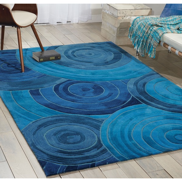 kathy ireland Palisades Architectural Ovation Denim Area Rug by Nourison - 8' x 10'6