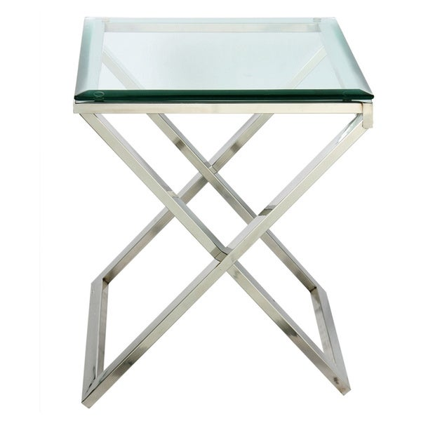 Hudson Cross Folding Side Table With Beveled Glass Free Shipping Today Ov