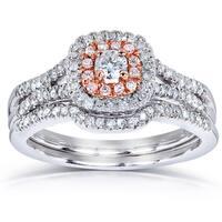 Annello by Kobelli 14k Two Tone Gold 1/2ct TDW Diamond Halo Vintage Bridal Rings Set