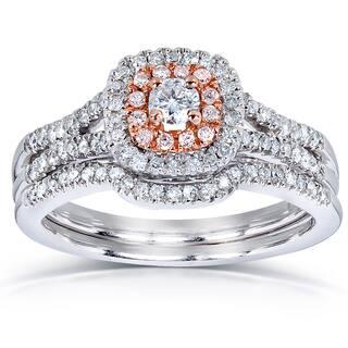 Annello By Kobelli 14k Two Tone Gold 1 2ct TDW Diamond Bridal Ring Set