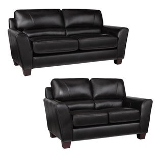 Excalibur Espresso Italian Leather Sofa and Loveseat