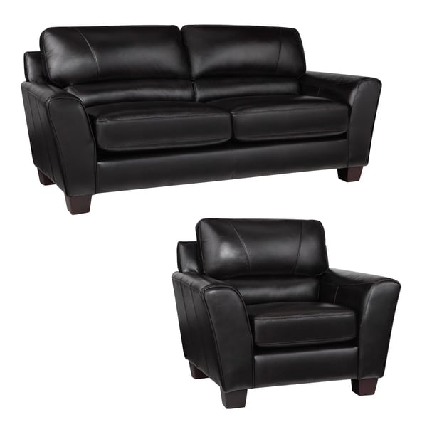 Excalibur Espresso Italian Leather Sofa and Chair