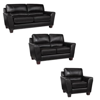 excalibur espresso italian leather sofa loveseat and chair - Black Leather Loveseat